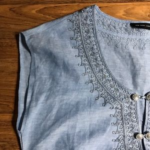 New York & Company Tunic Embroidered Chambray